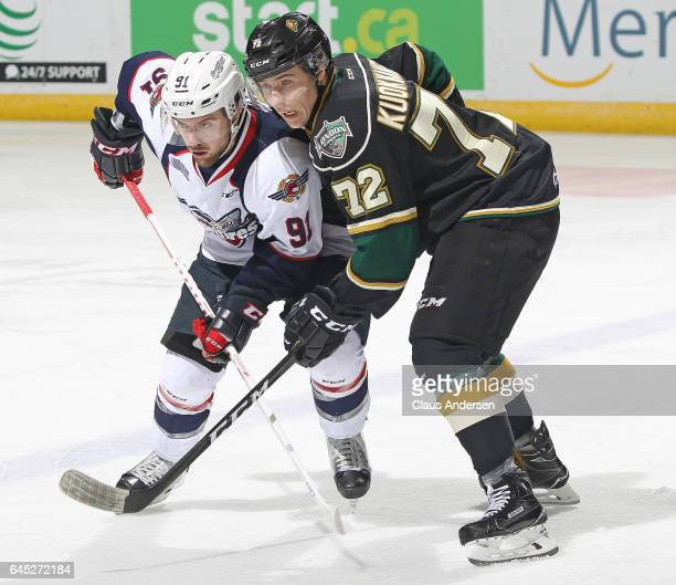 Aaron Luchuk of the Windsor Spitfires battles against Janne Kuokkanen of the London Knights during an OHL game at Budweiser Gardens on February 24...