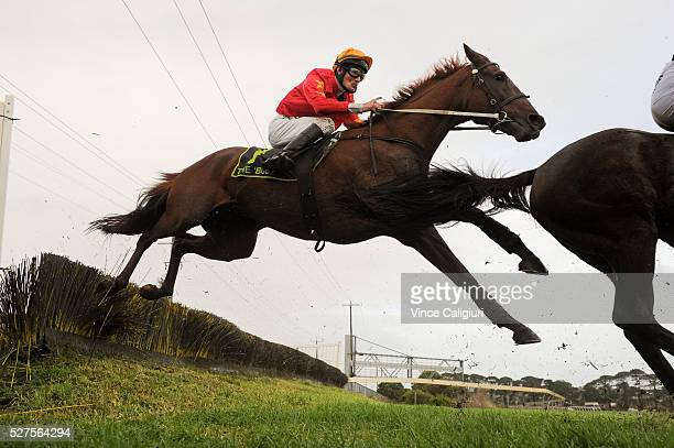 Aaron Lynch riding Earthbound jumping the Tozer Road double before unplaced finish in Race 6 the Brierly Steeplechase during Brierly Day at...