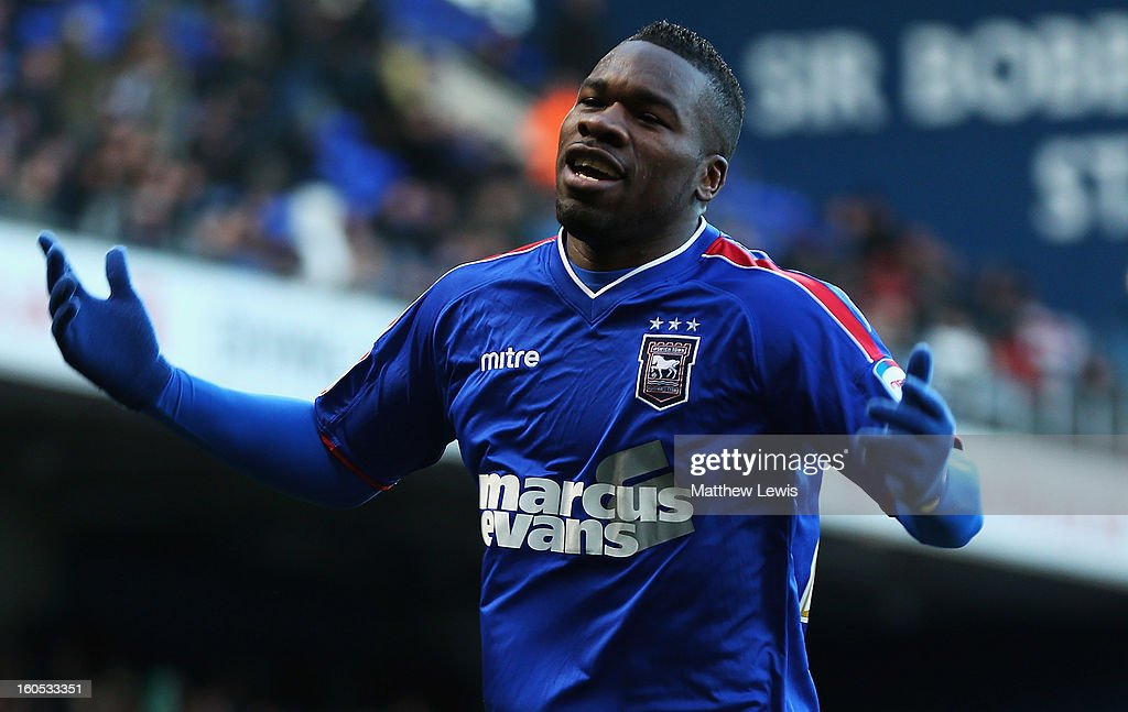 Aaron McLean of Ipswich celebrates his goal during the npower Championship match between Ipswich Town and Middlesbrough at Portman Road on February 2, 2013 in Ipswich, England.
