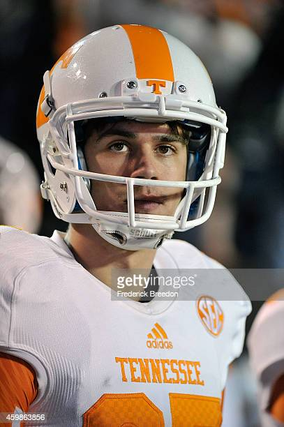 Aaron Medley of the Tennessee Volunteers watches from the sideline during a game against the Vanderbilt Commodores at Vanderbilt Stadium on November...