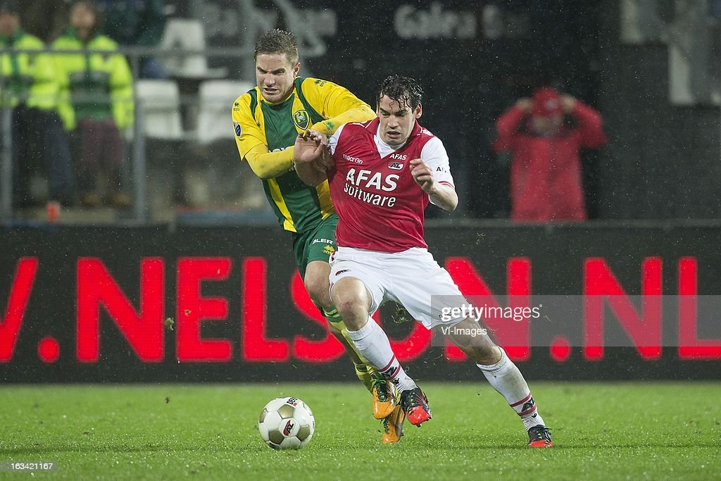 Aaron Meijers of ADO Den Haag, Dirk Marcellis of AZ during the Dutch Eredivisie match between AZ Alkmaar and ADO Den Haag at the AFAS Stadium on march 09, 2013 in Alkmaar, The Netherlands