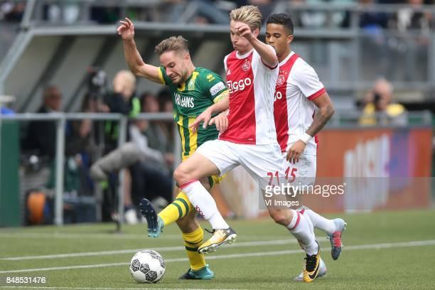 Aaron Meijers of ADO Den Haag Frenkie de Jong of Ajax Justin Kluivert of Ajax during the Dutch Eredivisie match between ADO Den Haag and Ajax...