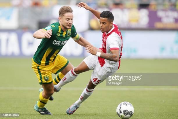 Aaron Meijers of ADO Den Haag Justin Kluivert of Ajax during the Dutch Eredivisie match between ADO Den Haag and Ajax Amsterdam at Car Jeans stadium...