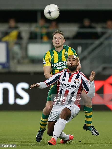 Aaron Meijers of ADO Den Haag Samuel Armenteros of Willem II during the Dutch Eredivisie match between ADO Den Haag and Willem II Tilburg at Kyocera...