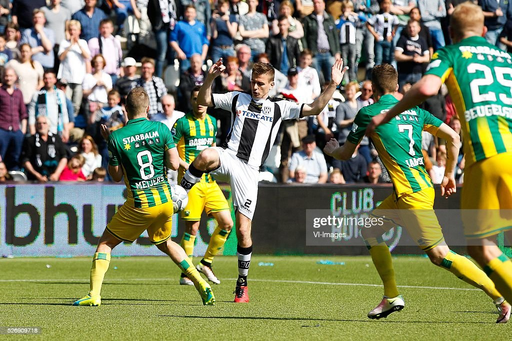 Aaron Meijers of ADO Den Haag, Tim Breukers of Heracles Almelo, Kevin Jansen of ADO Den Haag, Tom Beugelsdijk of ADO Den Haag during the Dutch Eredivisie match between Heracles Almelo and ADO Den Haag at Polman stadium on May 01, 2016 in Almelo, The Netherlands