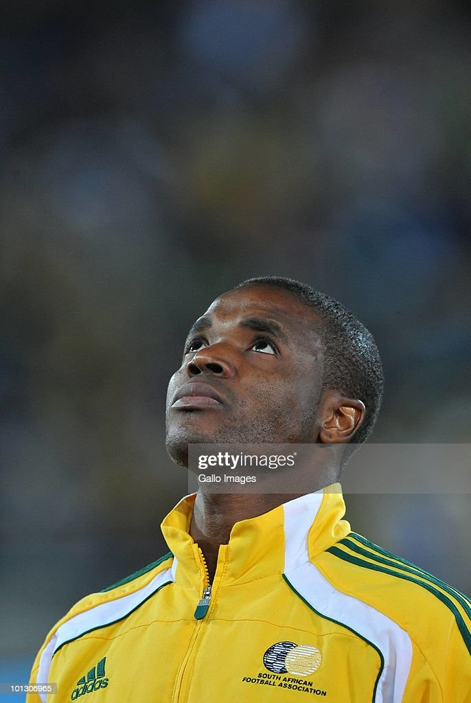 Aaron Mokoena of Bafana is shown during his 100th cap in an International Friendly match between South Africa and Guatemala at the Peter Mokaba Stadium on May 31, 2010 in Polokwane, South Africa.