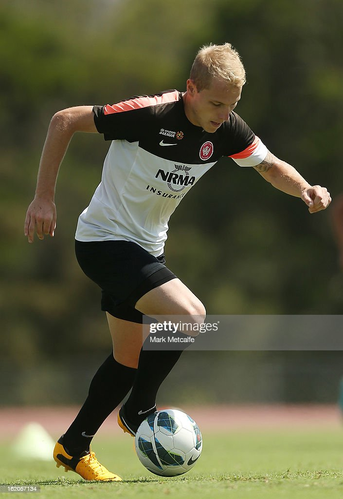 Aaron Mooy controls the ball during a Western Sydney Wanderers A-League training session at Blacktown International Sportspark on February 19, 2013 in Sydney, Australia.