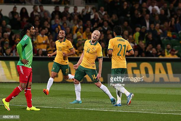 Aaron Mooy of Australia celebrates a goal during the 2018 FIFA World Cup Qualification match between the Australian Socceroos and Bangladesh at nib...