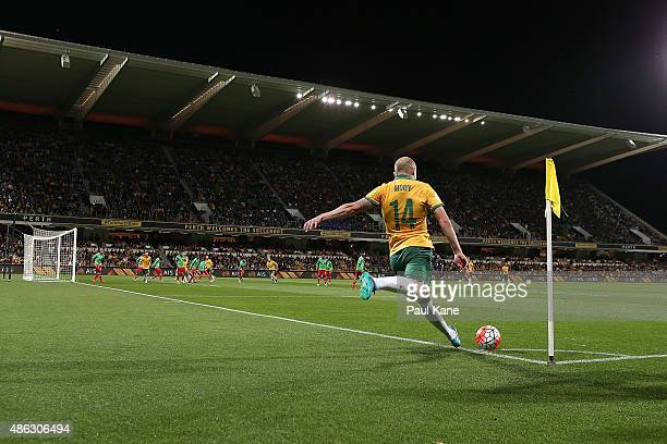Aaron Mooy of Australia takes a corner kick during the 2018 FIFA World Cup Qualification match between the Australian Socceroos and Bangladesh at nib...