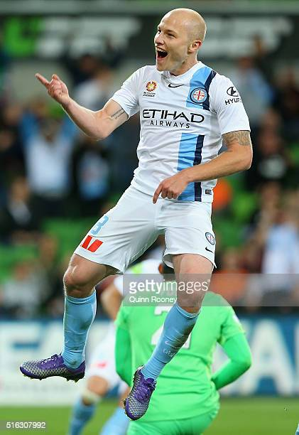 Aaron Mooy of City celebrates after scoring a goal during the round 24 ALeague match between Melbourne City and Brisbane Roar at AAMI Park on March...