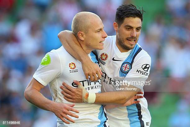 Aaron Mooy of City is congratulated by Bruno Fornaroli after scoring a goal during the round 20 ALeague match between Melbourne City FC and the...