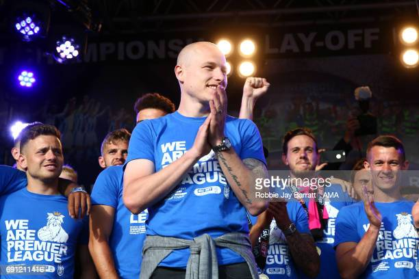 Aaron Mooy of Huddersfield Town applauds the fans on May 30 2017 in Huddersfield England Aaron Mooy