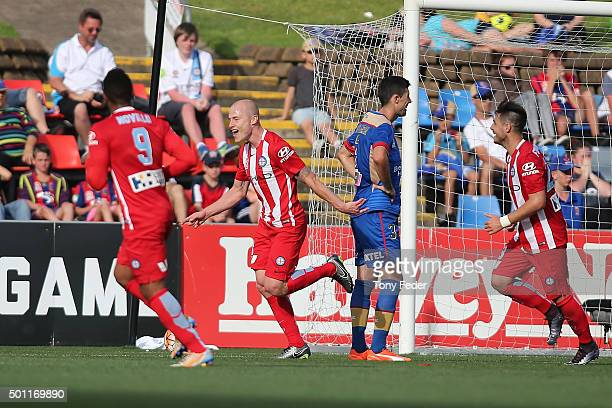 Aaron Mooy of Melbourne City celebrates a goal during the ALeague match between the Newcastle Jets and Melbourne City FC at Hunter Stadium on...