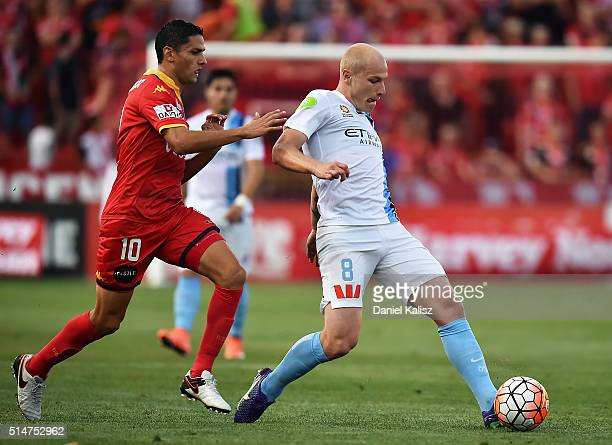 Aaron Mooy of Melbourne City passes the ball during the round 23 ALeague match between Adelaide United and Melbourne City FC at Coopers Stadium on...