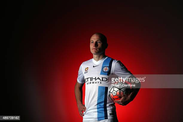 Aaron Mooy of Melbourne City poses during the Melbourne City FC ALeague team photo session at City Football Academy on September 22 2015 in Melbourne...