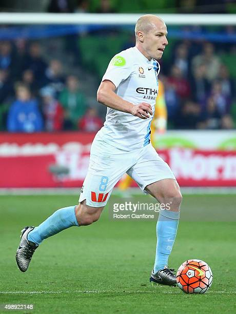 Aaron Mooy of Melbourne City runs with the ball during the round eight ALeague match between Melbourne City FC and Perth Glory at AAMI Park on...