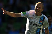 Aaron Mooy of Melbourne Citycelebrates his goal during the round 13 ALeague match between Melbourne City FC and Perth Glory at AAMI Park on December...