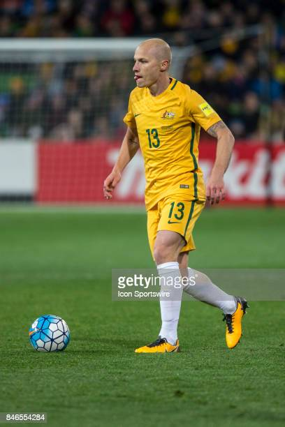 Aaron Mooy of the Australian National Football Team controls the ball during the FIFA World Cup Qualifier Match Between the Australian National...