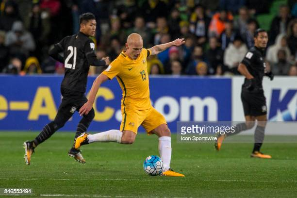 Aaron Mooy of the Australian National Football Team kicks the ball during the FIFA World Cup Qualifier Match Between the Australian National Football...