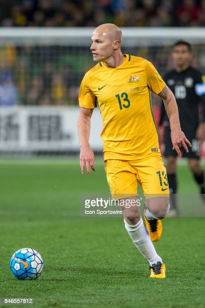 Aaron Mooy of the Australian National Football Team looks for options during the FIFA World Cup Qualifier Match Between the Australian National...