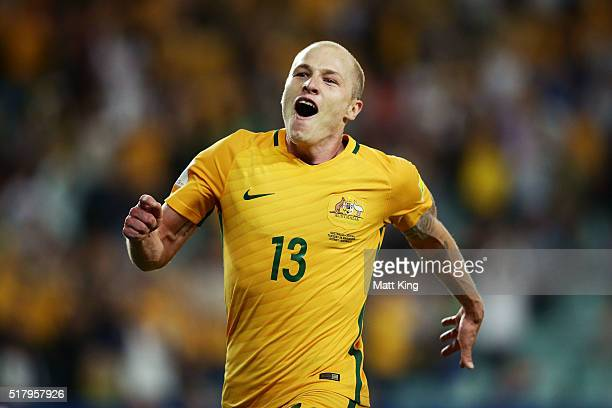 Aaron Mooy of the Socceroos celebrates scoring a goal during the 2018 FIFA World Cup Qualification match between the Australian Socceroos and Jordan...