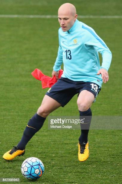 Aaron Mooy of the Socceroos chases the ball during an Australian Socceroos training session at AAMI Park on September 4 2017 in Melbourne Australia