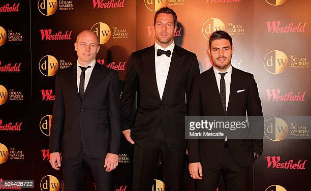 Aaron Mooy Thomas Sorensen and Bruno Fornaroli of Melbourne City arrive ahead of the 2016 FFA Dolan Warren Awards at Carriageworks on April 26 2016...