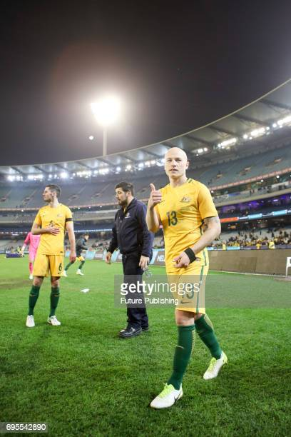Aaron Mooy waves to the crowd post game after Brazil Vs Australia in the Chevrolet Brasil Global Tour on June 13 2017 in Melbourne Australia Chris...