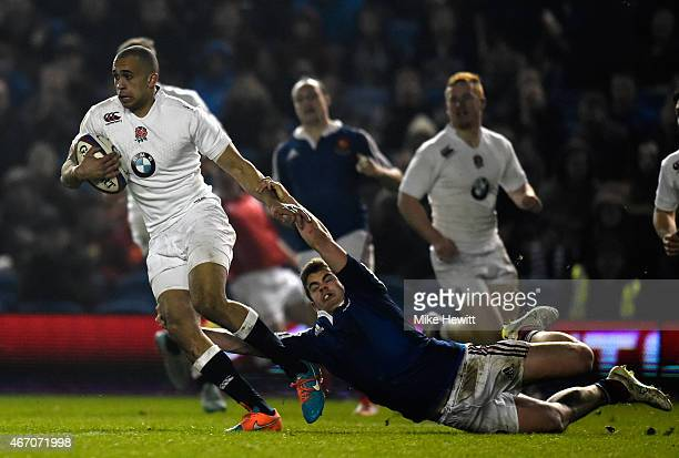 Aaron Morris of England gets past Damian Penaud of France during the U20 RBS Six Nations match between England U20 and France U20 at Amex Stadium on...