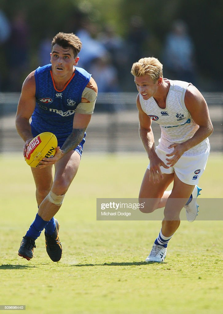 Aaron Mullett looks upfield during the North Melbourne AFL Intra-Club match at Arden Street Ground on February 12, 2016 in Melbourne, Australia.