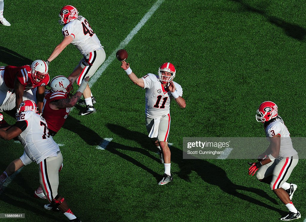 Aaron Murray #11 of the Georgia Bulldogs passes against the Nebraska Cornhuskers during the Capital One Bowl at the Citrus Bowl on January 1, 2013 in Orlando, Florida.