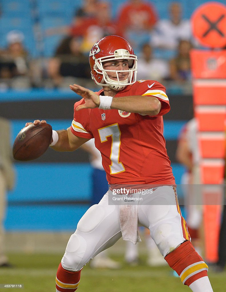 Aaron Murray #7 of the Kansas City Chiefs against the Carolina Panthers during their game at Bank of America Stadium on August 17, 2014 in Charlotte, North Carolina. Carolina won 28-16.