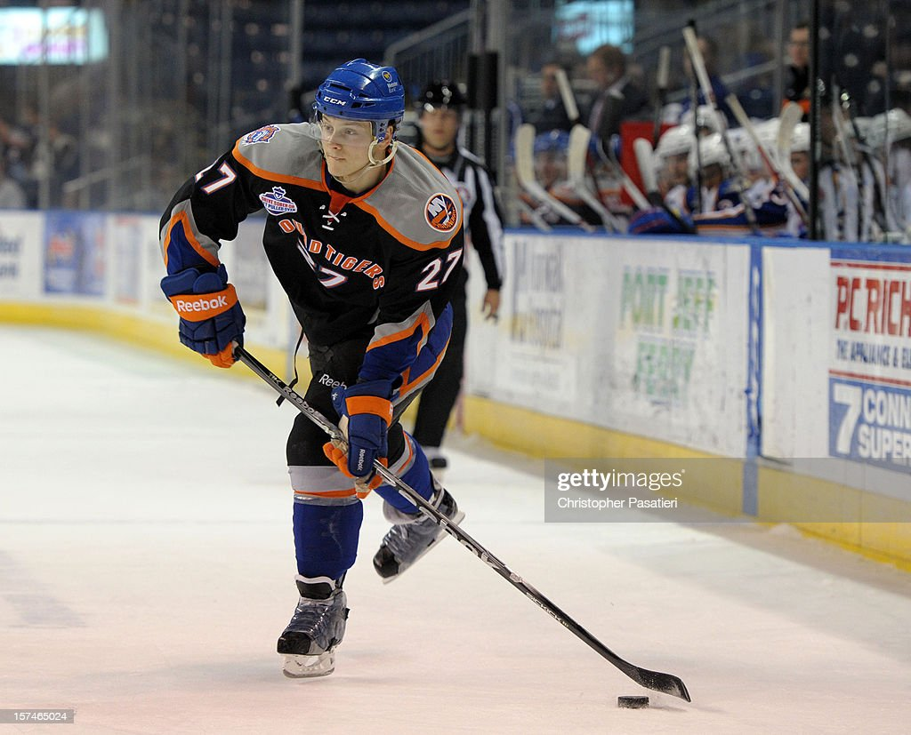 Aaron Ness #27 of the Bridgeport Sound Tigers skates during an American Hockey League game against the Norfolk Admirals on December 2, 2012 at the Webster Bank Arena in Bridgeport, Connecticut. The Admirals defeated the Sound Tigers 4-1.