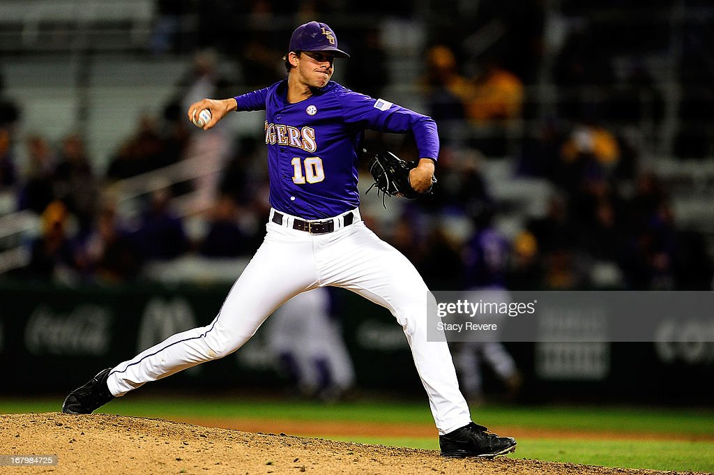 Aaron Nola #10 of the LSU Tigers throws a pitch against the Florida Gators during a game at Alex Box Stadium on May 3, 2013 in Baton Rouge, Louisiana.