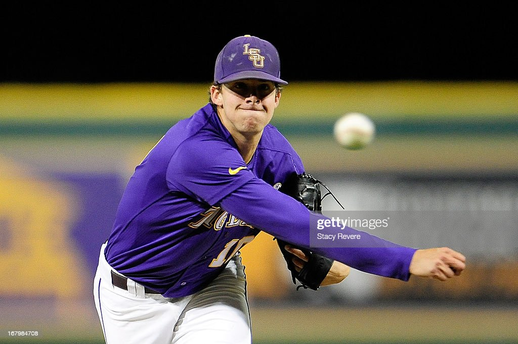 Aaron Nola #10 of the LSU Tigers warms up during a game against the Florida Gators at Alex Box Stadium on May 3, 2013 in Baton Rouge, Louisiana.