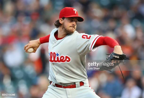 Aaron Nola of the Philadelphia Phillies pitches against the San Francisco Giants in the first inning at ATT Park on August 17 2017 in San Francisco...