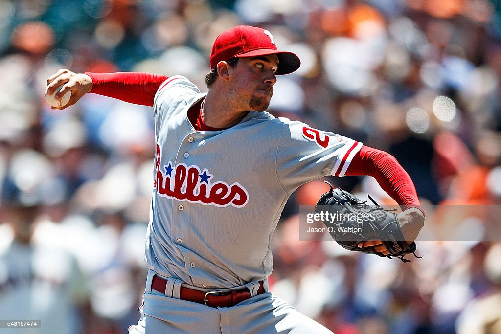 <a gi-track='captionPersonalityLinkClicked' href=/galleries/search?phrase=Aaron+Nola&family=editorial&specificpeople=10891411 ng-click='$event.stopPropagation()'>Aaron Nola</a> #27 of the Philadelphia Phillies pitches against the San Francisco Giants during the first inning at AT&T Park on June 26, 2016 in San Francisco, California.