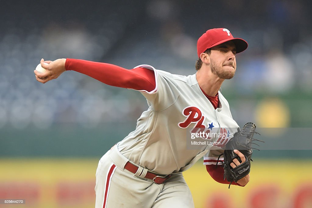 Aaron Nola #27 of the Philadelphia Phillies pitches in the third inning during a baseball game against the Washington Nationals at Nationals Park on April 28, 2016 in Washington, D.C.