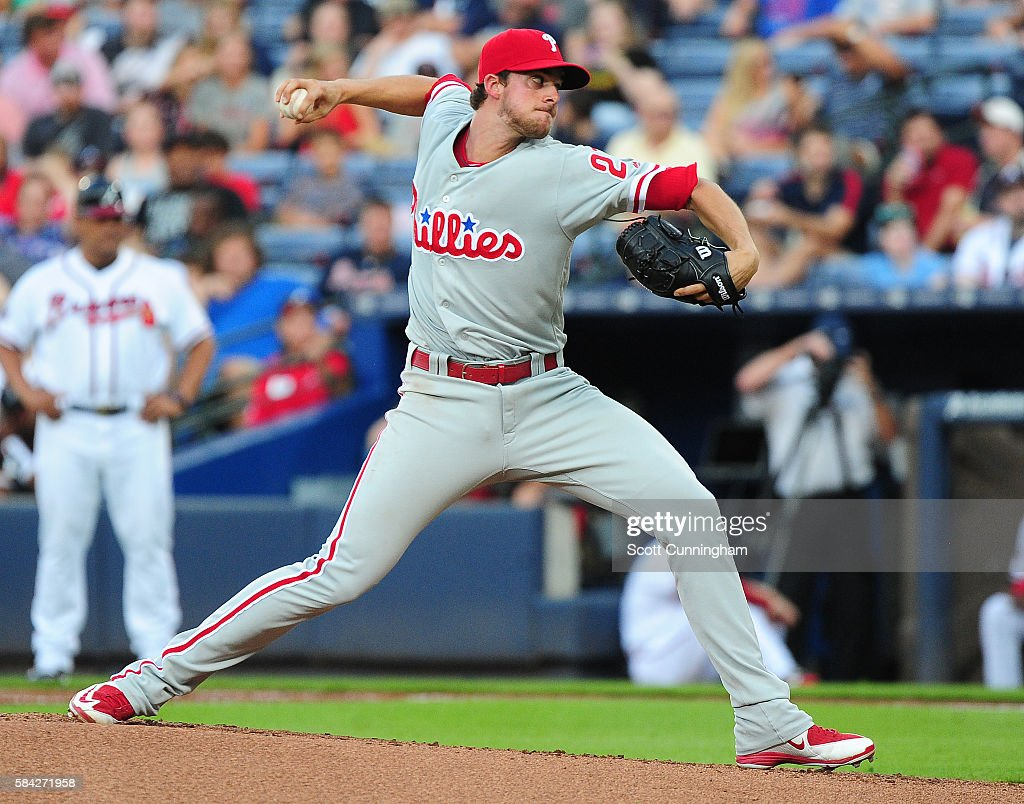 Aaron Nola #27 of the Philadelphia Phillies throws a third inning pitch against the Atlanta Braves at Turner Field on July 28, 2016 in Atlanta, Georgia.