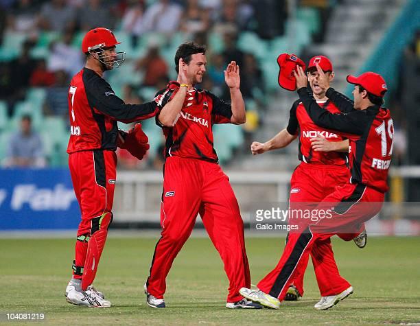 Aaron O'Brien of South Australian Redbacks celebrates a wicket of Sachin Tendulkar of Mumbai Indians during the Airtel Champions League Twenty20...