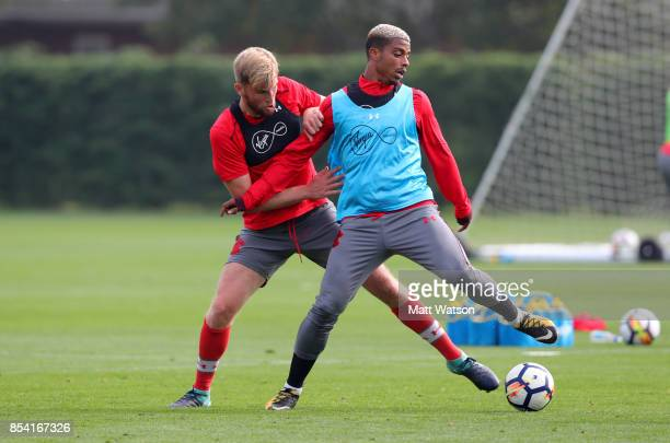 Aaron OâDriscoll and Mario Lemina during a Southampton FC training session at the Staplewood Campus on September 26 2017 in Southampton England