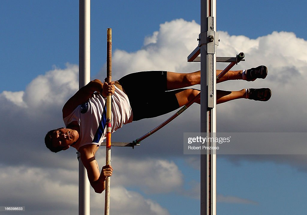 Aaron Page of VIC competes in Men Decathlon Pole Vault Open during day two of the Australian Athletics Championships at Sydney Olympic Park Athletic Centre on April 12, 2013 in Sydney, Australia.