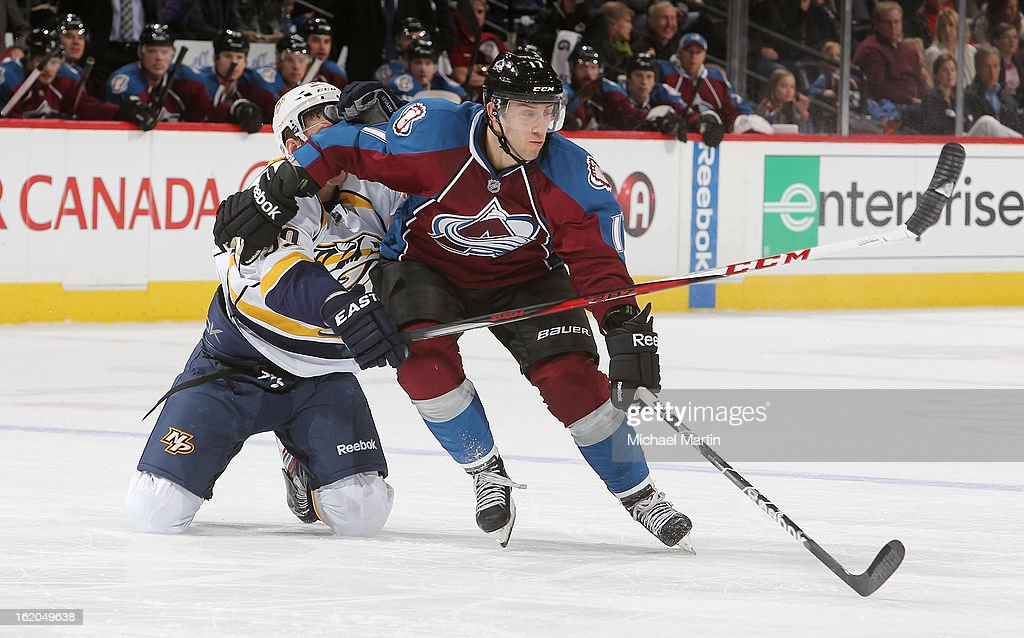 Aaron Palushaj #17 of the Colorado Avalanche skates against <a gi-track='captionPersonalityLinkClicked' href=/galleries/search?phrase=David+Legwand&family=editorial&specificpeople=202553 ng-click='$event.stopPropagation()'>David Legwand</a> #11 of the Nashville Predators at the Pepsi Center on February 18, 2013 in Denver, Colorado. The Avalanche defeated the Predators 6-5.