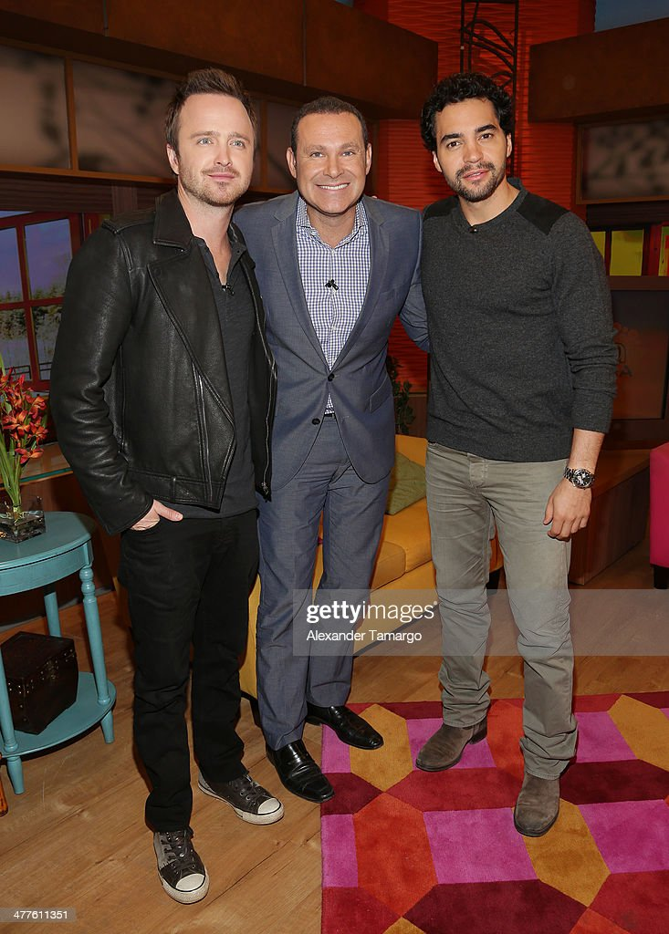 <a gi-track='captionPersonalityLinkClicked' href=/galleries/search?phrase=Aaron+Paul+-+Actor&family=editorial&specificpeople=693211 ng-click='$event.stopPropagation()'>Aaron Paul</a>, Alan Tacher and <a gi-track='captionPersonalityLinkClicked' href=/galleries/search?phrase=Ramon+Rodriguez&family=editorial&specificpeople=73608 ng-click='$event.stopPropagation()'>Ramon Rodriguez</a> are seen on the set of Univision's Despierta America morning show to promote the movie 'Need for Speed' at Univision Headquarters on March 10, 2014 in Miami, Florida.