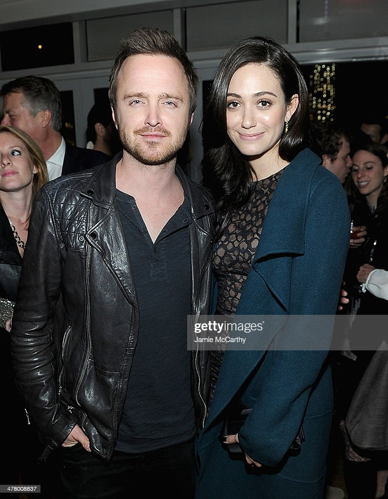 Aaron Paul and Emmy Rossum attend DreamWorks Picture' 'Need For Speed' screening hosted by The Cinema Society and Bushmill's after party at Jimmy At The James Hotel on March 11, 2014 in New York City.