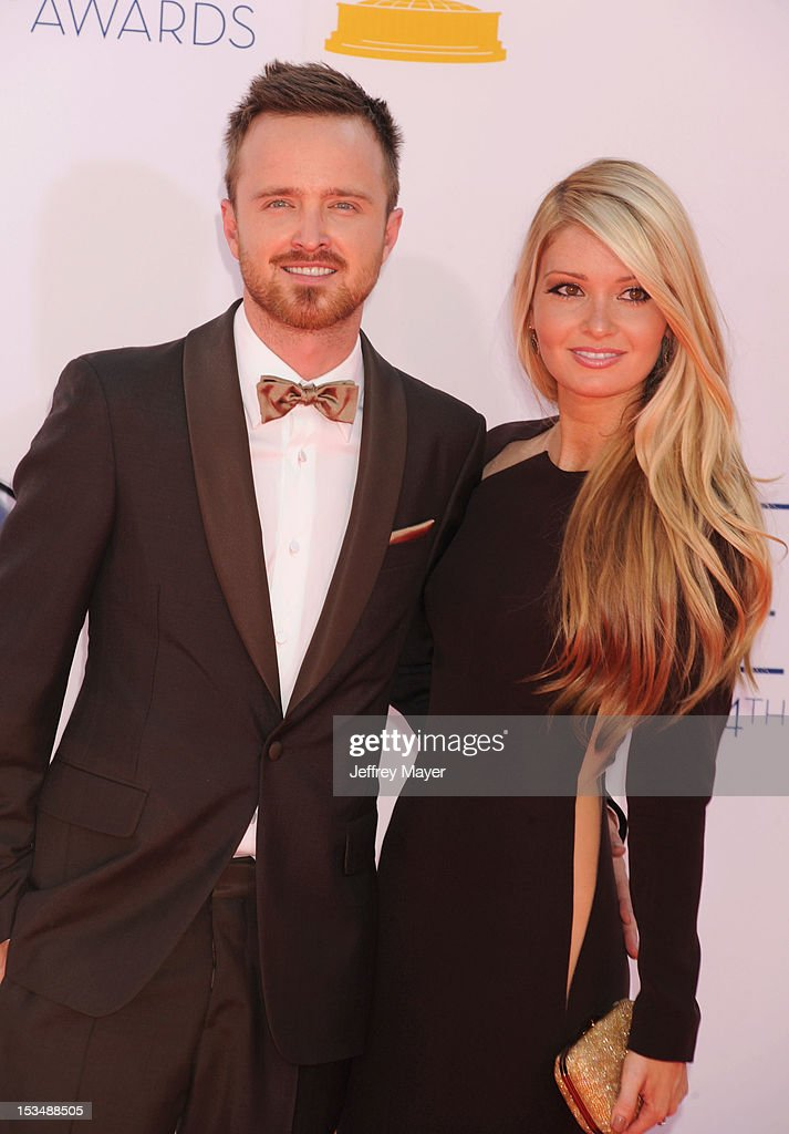 Aaron Paul and Lauren Parsekian arrive at the 64th Primetime Emmy Awards at Nokia Theatre L.A. Live on September 23, 2012 in Los Angeles, California.