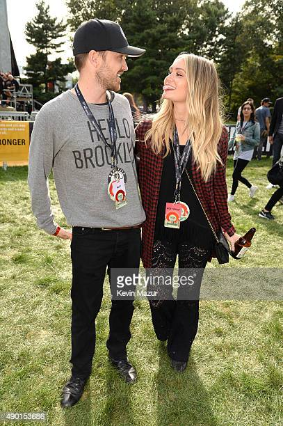 Aaron Paul and Lauren Parsekian attend 2015 Global Citizen Festival to end extreme poverty by 2030 in Central Park on September 26 2015 in New York...