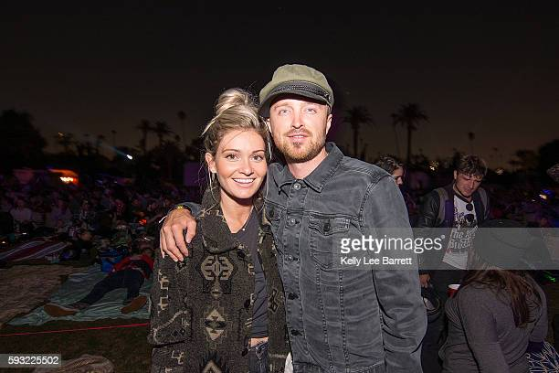 Aaron Paul and Lauren Parsekian attend Cinespia's screening of '2001 A Space Odyssey' held at Hollywood Forever on August 20 2016 in Hollywood...
