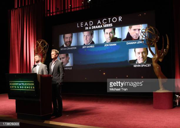 Aaron Paul and Neil Patrick Harris speak at the 65th Primetime EMMY Awards nominations announcement held at Leonard H Goldenson Theatre on July 18...