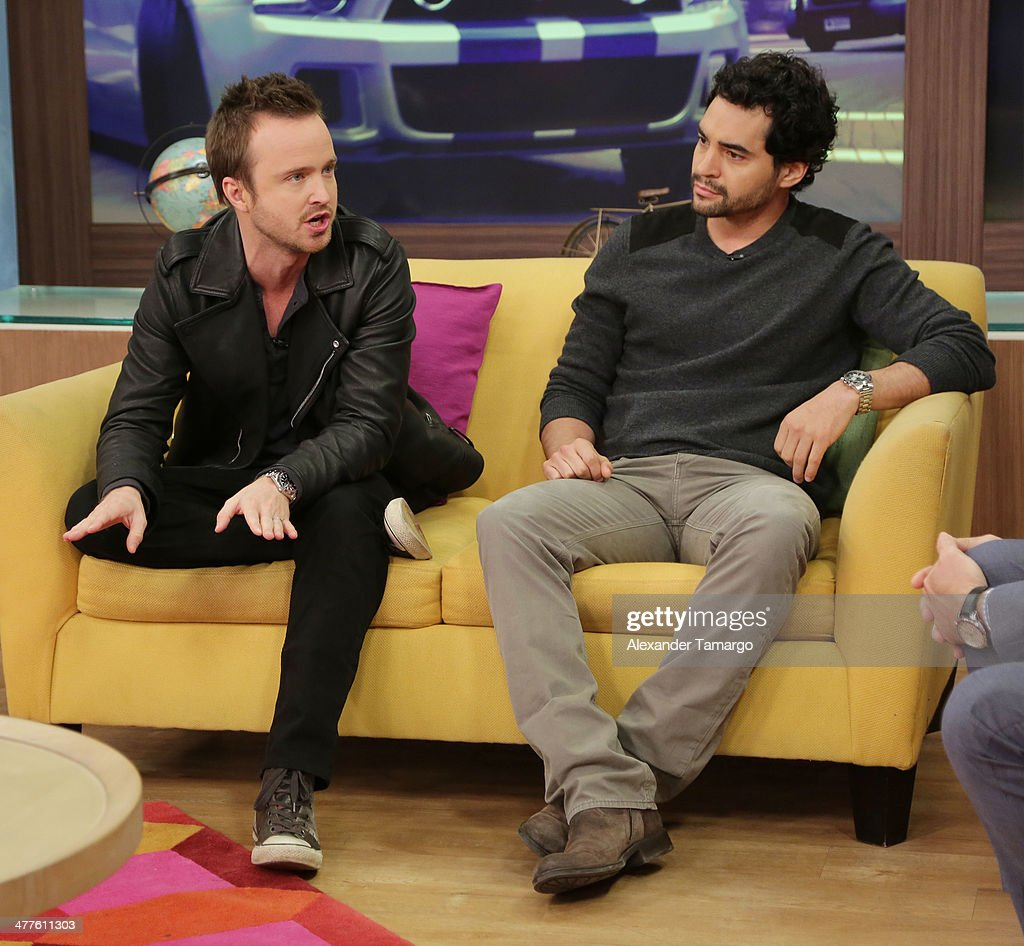 Aaron Paul and Ramon Rodriguez are seen on the set of Univision's Despierta America morning show to promote the movie 'Need for Speed' at Univision Headquarters on March 10, 2014 in Miami, Florida.
